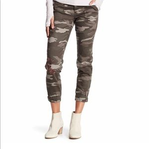 Floral Embroidered Camouflage Pants